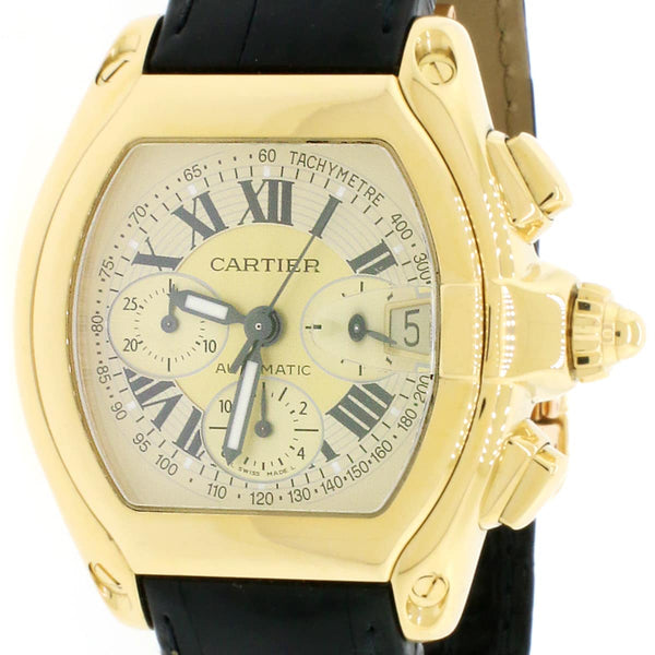 Cartier Roadster XL Chronograph 18K Yellow Gold Automatic Mens Watch 2619 Box Papers