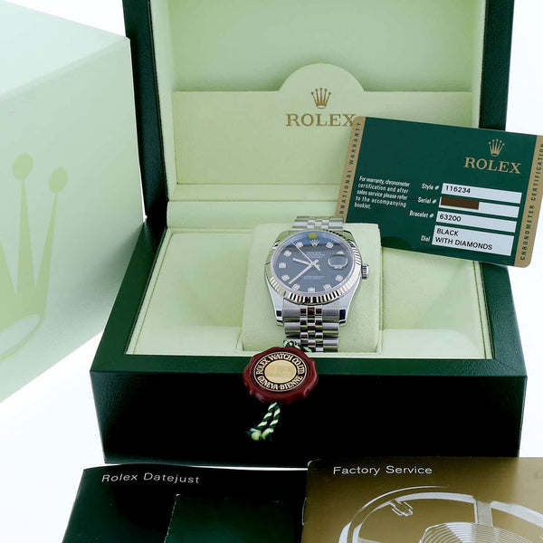 Rolex Datejust Diamond Dial 36MM Automatic Stainless Steel Jubilee Watch 116234