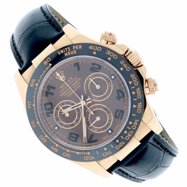 Rolex Cosmograph Daytona 18K Everose Gold Ceramic Bezel Chocolate Arabic Dial Automatic Mens Watch 116515