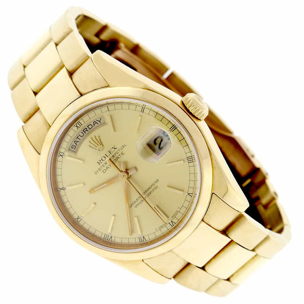 Rolex President Day-Date 18K Yellow Gold Champagne Dial 36MM Automatic Mens Watch 118238