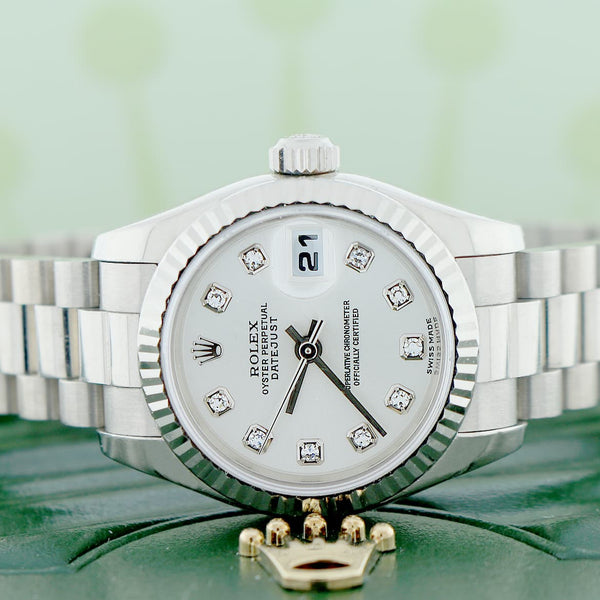 Rolex President Datejust Ladies Original Silver Diamond Dial 18K White Gold 26MM Automatic Watch 179179