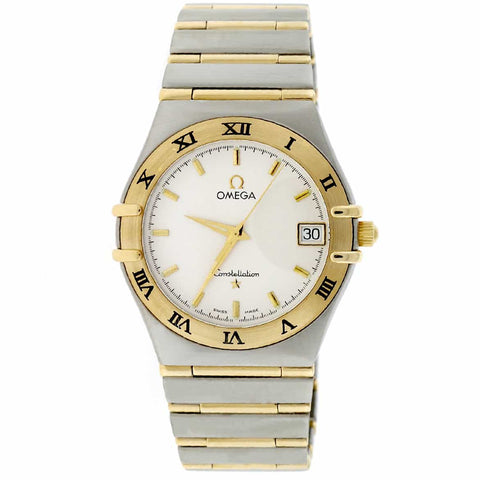Omega Constellation 2-Tone 18K Yellow Gold & Stainless Steel Original Silver Dial 34MM Full Bar Band Mens Watch