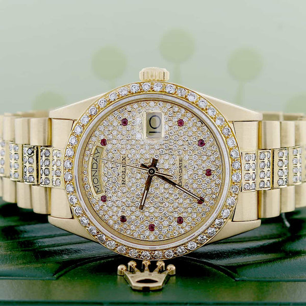 Rolex President Day-Date Gold 36MM Watch w/Diamond Dial/Bezel/Bracelet 18038