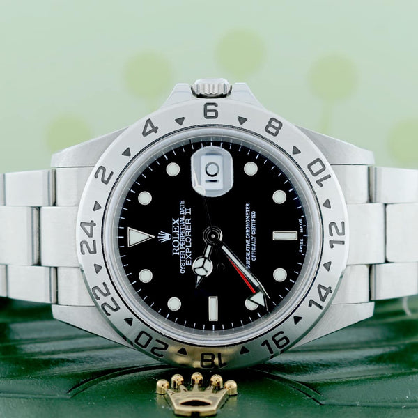 Rolex Explorer II 40MM Black Dial Automatic Stainless Steel Mens Watch 16570