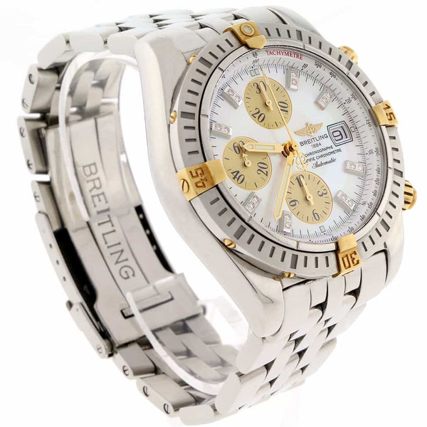 Breitling Chronomat Evolution Original MOP Diamond Dial Stainless Steel 44mm Chronograph Mens Watch B13356