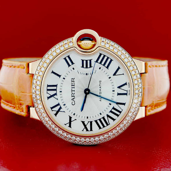 Cartier Ballon Bleu 18K Rose Gold Silver Roman Dial Factory Diamond Bezel 36MM Ladies Watch WE900551