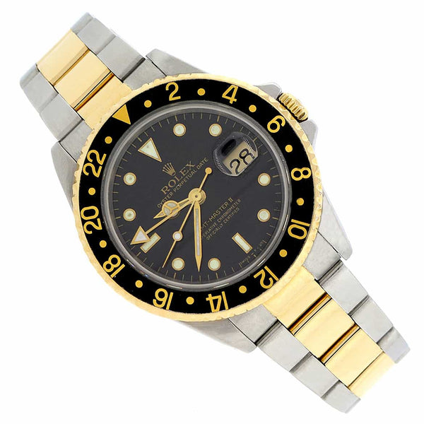 Rolex GMT-Master II 2-Tone Yellow Gold & Stainless Steel Black Dial Automatic Mens Watch 16713