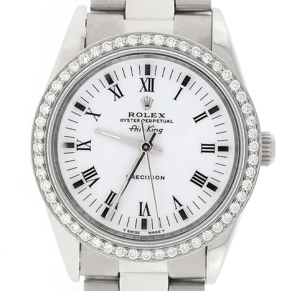 Rolex Air-King White Roman Dial 34MM Automatic Stainless Steel Oyster Mens Watch 14000 w/Diamond Bezel