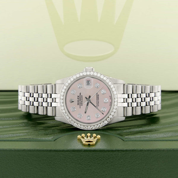 Rolex Datejust Midsize 31MM Automatic Stainless Steel Women's Watch w/Pastel Pink Dial & Diamond Bezel