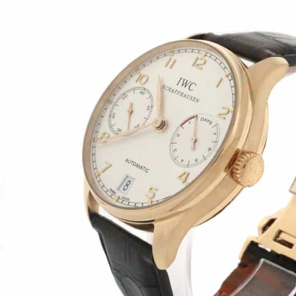 IWC Portuguese 18K Rose Gold 7-Days Power Reserve 42MM Automatic Mens Watch IW500113