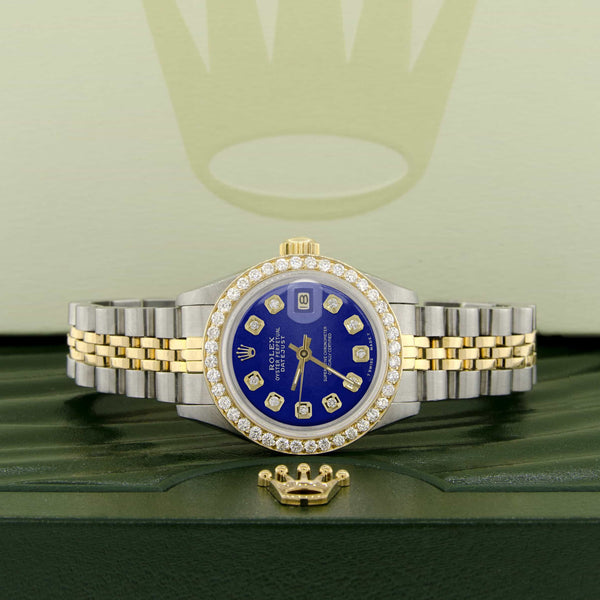 Rolex Datejust Ladies 2-Tone 18K Gold/SS 26mm Watch with Blue Dial & Diamond Bezel