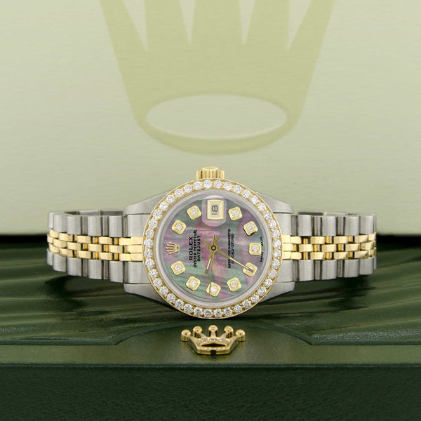 Rolex Datejust Ladies 2-Tone 18K Gold/SS 26mm Watch with Tahitian MOP Dial & Diamond Bezel
