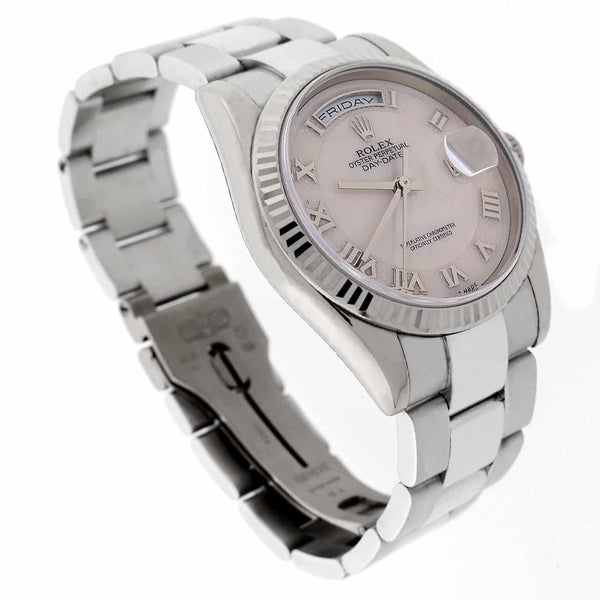 Rolex President Day-Date 18K White Gold Original Ivory MOP Roman Dial 36MM Mens Watch 118239