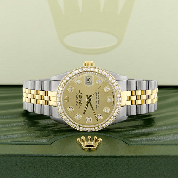 Rolex Datejust 2-Tone 18K Gold/SS Midsize 31mm Womens Watch with Champagne Dial & Diamond Bezel