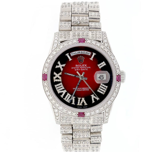 Rolex President Day-Date 18K White Gold Imperial Red Diamond Roman Dial, Diamond Bezel & Bracelet 36MM Automatic Watch