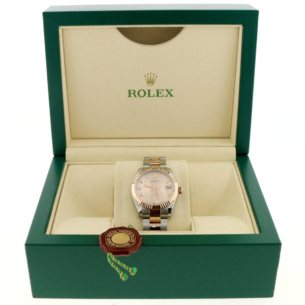 Rolex Datejust 2-Tone 18K Rose Gold/Stainless Steel Factory Jubilee Diamond Dial 31MM Oyster Watch 178271