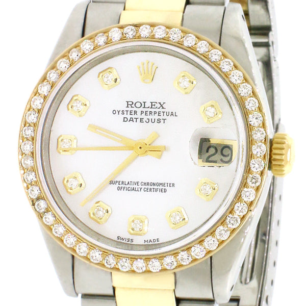 Rolex Datejust 2-Tone Gold/SS Midsize 31mm Women's Watch with White MOP Dial & Diamond Bezel