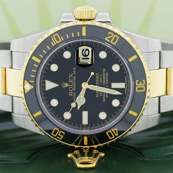 Rolex Submariner 2-Tone 18K Yellow Gold/Stainless Steel Factory Diamond Dial Ceramic Bezel Automatic Mens Oyster Watch 116613