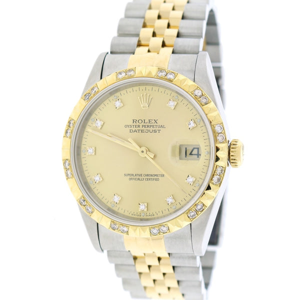 Rolex Datejust 2-Tone Yellow Gold/Stainless Steel Factory Champagne Diamond Dial 36MM Jubilee Watch 16233 w/Diamond Bezel