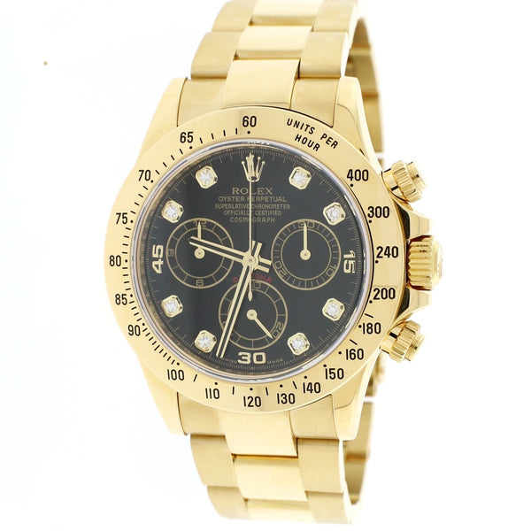 Rolex Cosmograph Daytona 18K Yellow Gold Factory Diamond Dial 40MM Automatic Mens Oyster Watch 116528