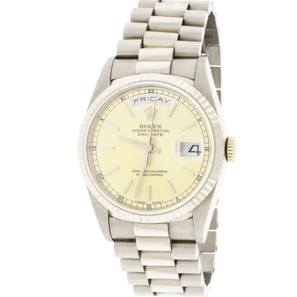 Rolex President Day-Date 18K White Gold 36MM Double Quickset Automatic Mens Watch 18239 Box Papers