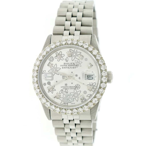 Rolex Datejust 36MM Automatic Stainless Steel Jubilee Watch w/Silver Floral Diamond Dial & 2.8Ct Bezel