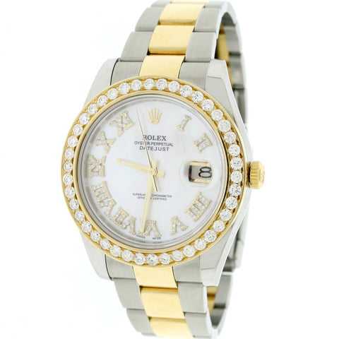 Rolex Datejust II 2-Tone 18K Yellow Gold/Steel 41mm 3.07Ct Watch 116333 Box Papers