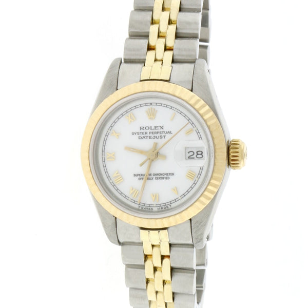 Rolex Datejust Ladies 2-Tone 18K Yellow Gold/Stainless Steel Original White Roman Dial 26MM Automatic Jubilee Watch 69173