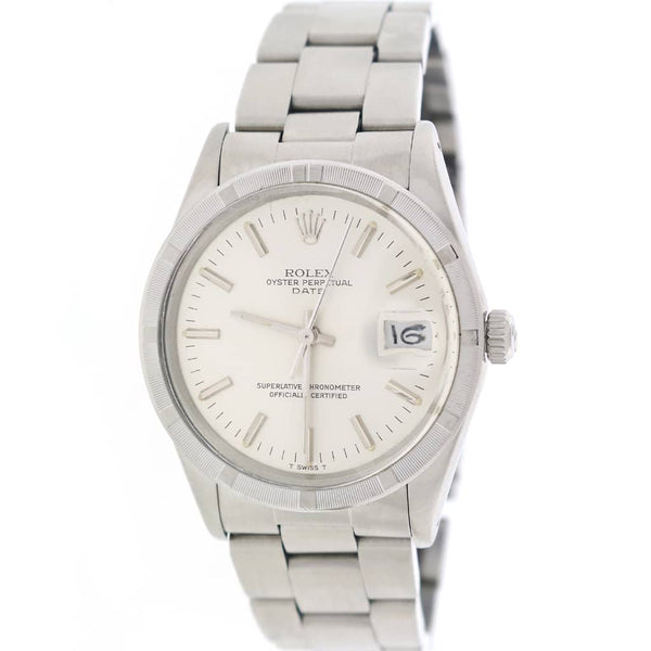 Rolex Oyster Perpetual Date 34mm Silver Stick Dial Automatic Stainless Steel Watch 15010