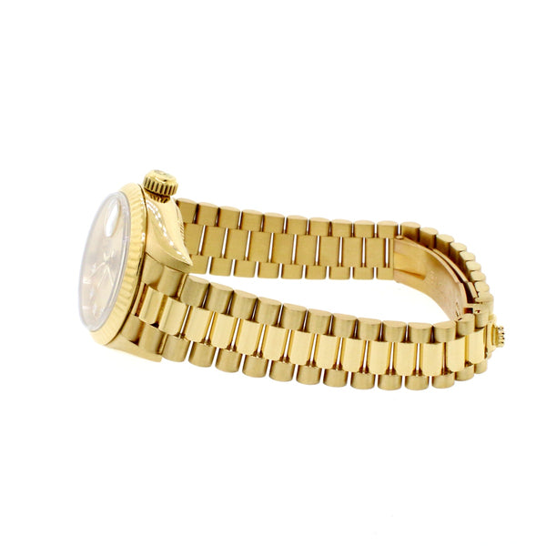 Rolex President Datejust Ladies 18K Yellow Gold 26MM Original Champagne Diamond Dial Automatic Watch 69178 w/ Box Papers