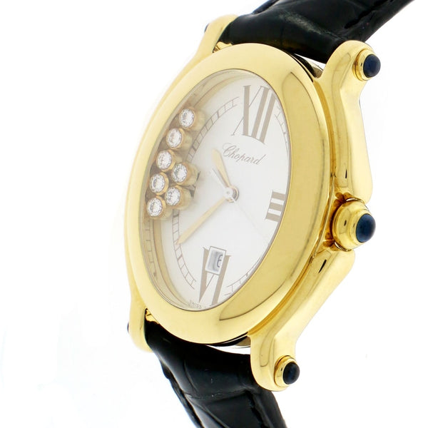 Chopard Happy Sport Yellow Gold 7 Floating Diamonds Oval 30MM Ladies Watch 27/7000-23
