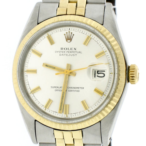 Rolex Datejust 2-Tone 18K Yellow Gold & Stainless Steel Original Silver Dial 36MM Automatic Mens Watch 1601