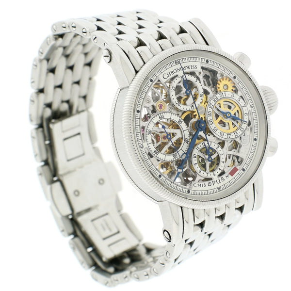 Chronoswiss Opus Skeleton Chronograph 38MM Automatic Stainless Steel Mens Watch CH7523