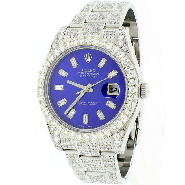 Rolex Datejust II 41MM Steel Automatic Mens Watch w/Imperial Blue MOP Diamond Dial, Bezel, Bracelet 116300