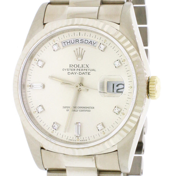 Rolex President Day-Date 18K White Gold Factory Diamond Dial 36MM Automatic Mens Watch 18239