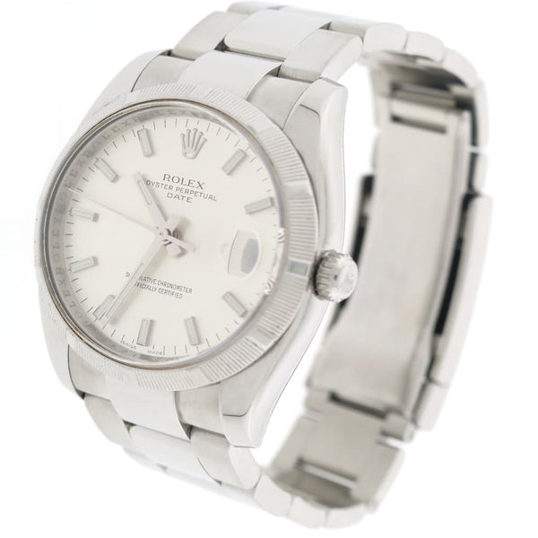 Rolex Oyster Perpetual Date 34mm Silver Stick Dial Automatic Stainless Steel Watch 115210