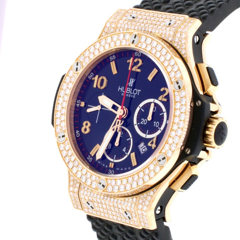 Hublot Big Bang 44MM 18K Rose Gold Factory Diamond Bezel Chronograph Automatic Mens Watch 301.PX.130.RX.174