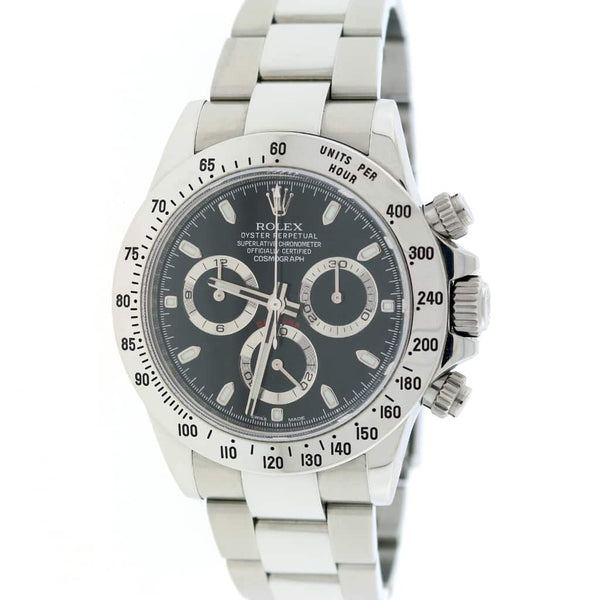 Rolex Cosmograph Daytona Black Dial 40MM Automatic Stainless Steel Mens Oyster Rehaut Watch 116520