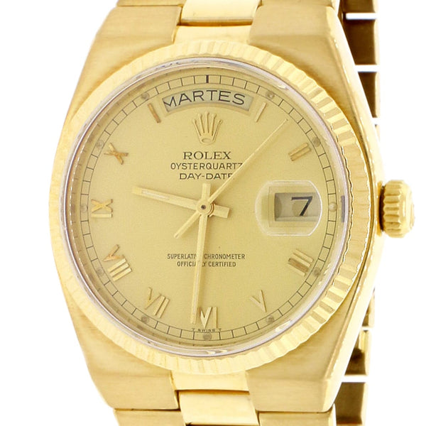Rolex President Day-Date Oysterquartz 18K Yellow Gold Factory Champagne Roman Dial 36MM Mens Watch 19018