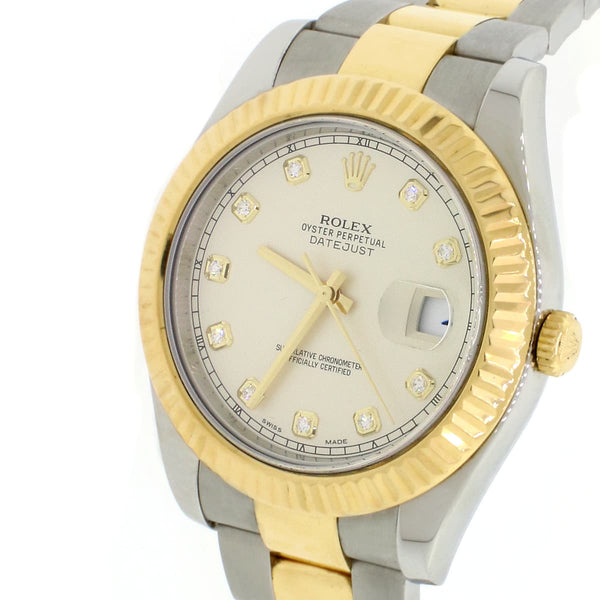 Rolex Datejust II 2-Tone 18K Yellow Gold/SS Factory Cream Diamond Dial 41MM Mens Oyster Watch 116333