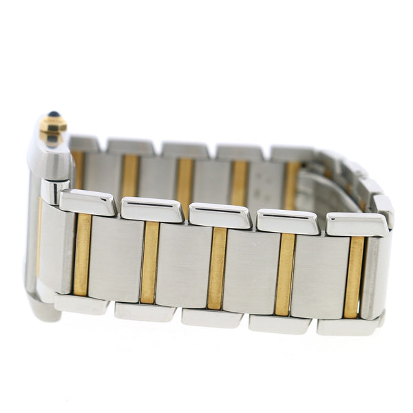 Cartier Tank Francaise Large 2-Tone 18K Yellow Gold & Stainless Steel 28MM Silver Roman Dial Watch W51005Q4