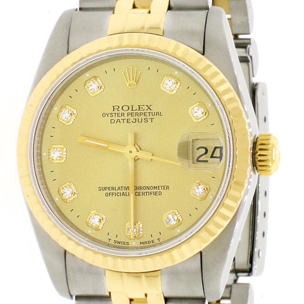 Rolex Datejust 2-Tone 18K Yellow Gold/Stainless Steel Jubilee Factory Champagne Diamond Dial 31mm Womens Watch 68273 No Holes