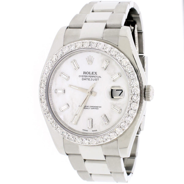 Rolex Datejust II 41mm Automatic Mens Oyster Watch 116300 Baguette MOP Diamond Dial & Bezel, Box & Papers