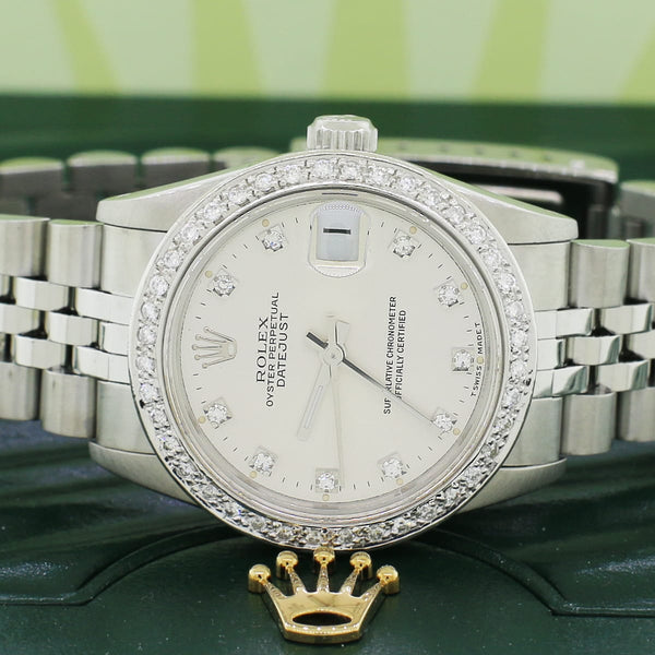 Rolex SS 31mm Factory Diamond Dial Automatic Jubilee Watch 68274 w/Custom Diamond Bezel