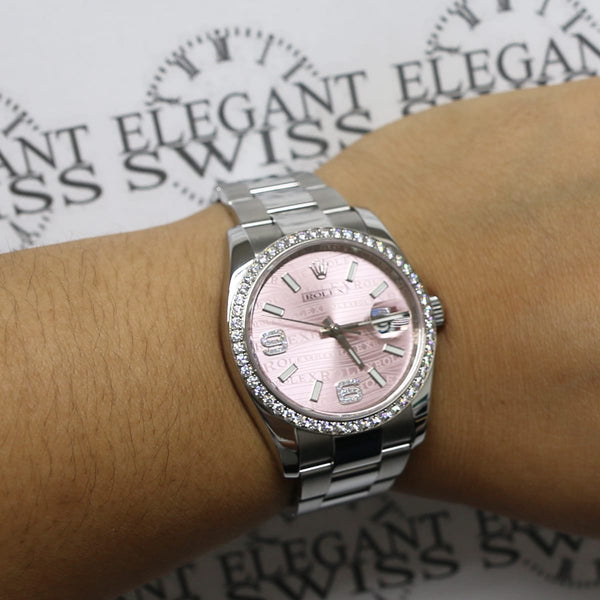 Rolex Datejust Factory Pink Waves Set Diamond Dial & 18k White Gold Diamond Bezel 36MM Automatic Stainless Steel Oyster Watch 116244 w/BoxPapers