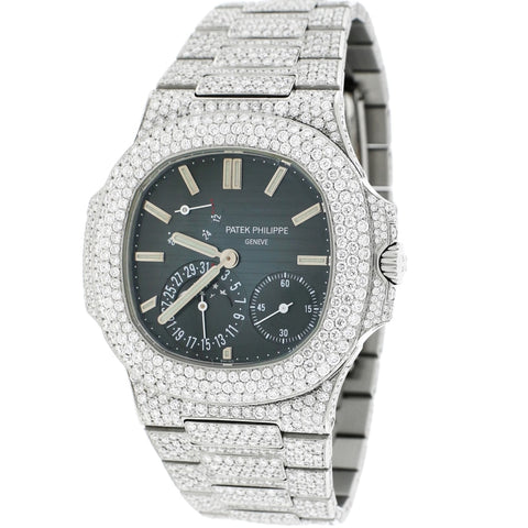 Patek Philippe Nautilus Annual Calendar Moonphase 41MM Black Dial Stainless Steel Watch 5712/1A-001 w/Diamond Bezel & Bracelet
