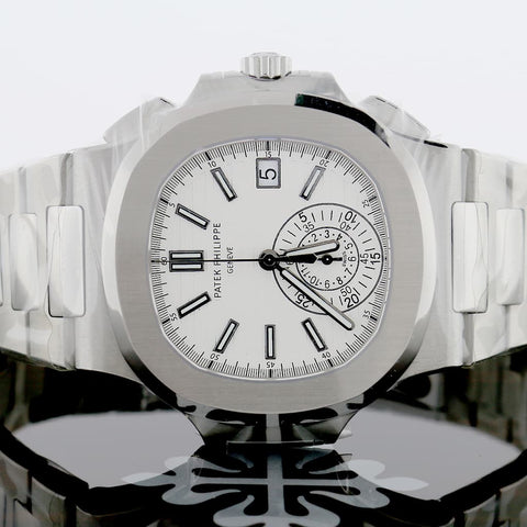 Patek Philippe Nautilus Chronograph White Dial Automatic Stainless Steel Mens Watch 5980/1A-019