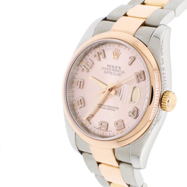 Rolex Datejust 36mm Pink Concentric Dial 2-tone 18K Rose Gold & Stainless Steel Oyster Watch 116201