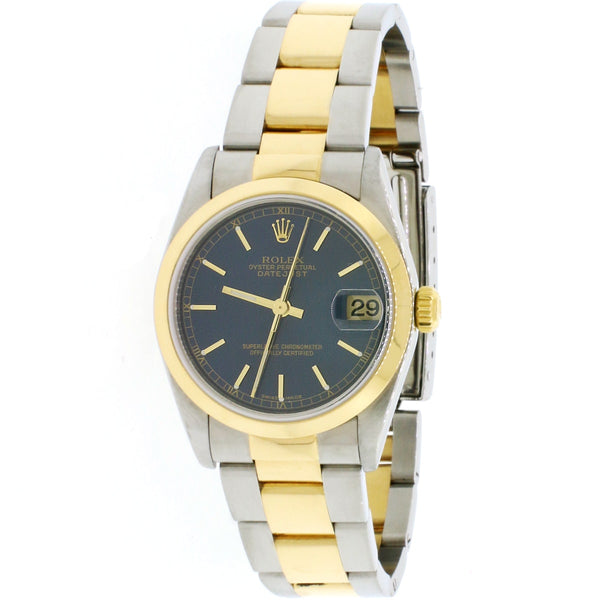Rolex Datejust Midsize 2-Tone 18K Yellow Gold/Stainless Steel Original Blue Index Dial 31MM Oyster Watch 78243 w/Box&Papers