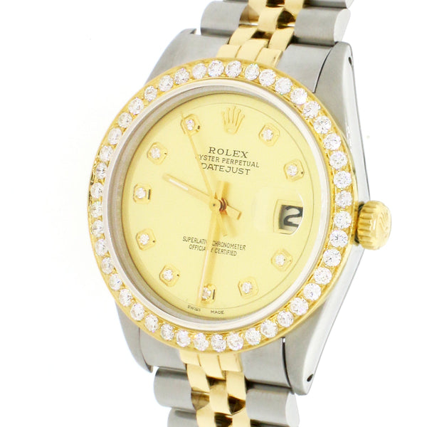 Rolex Datejust 2-Tone 18K Gold/SS 36mm Automatic Jubilee Watch w/Champagne Diamond Dial 1.85Ct Bezel